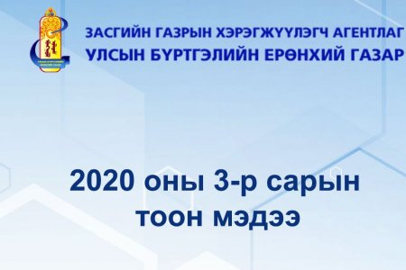 Улсын бүртгэлийн байгууллагын ээлжит 3-р сарын тоон мэдээлэл