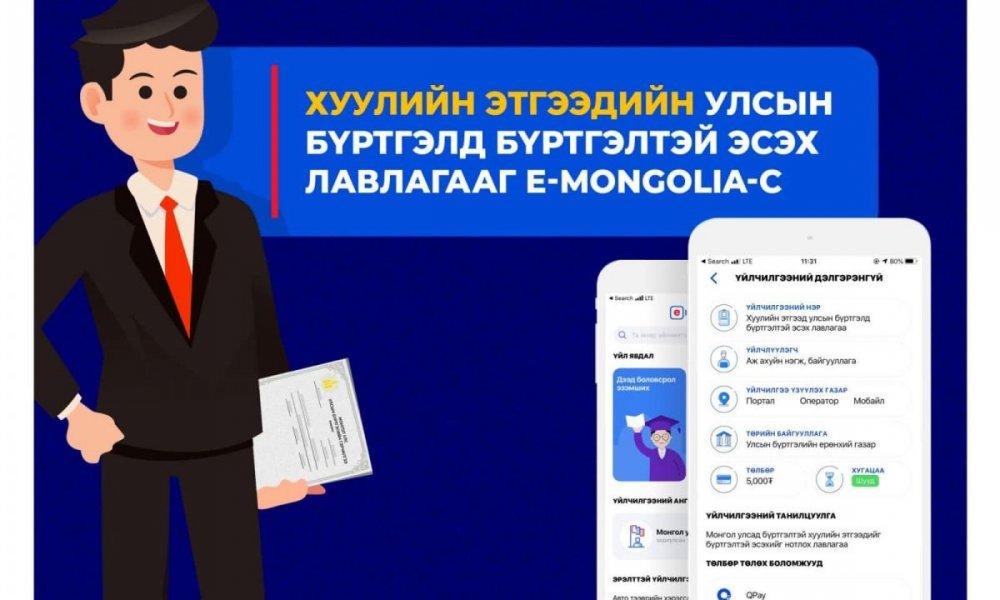 ХУУЛИЙН ЭТГЭЭДИЙН УЛСЫН БҮРТГЭЛД БҮРТГЭЛТЭЙ ЭСЭХ ЛАВЛАГАА-г E-Mongolia-с аваарай.