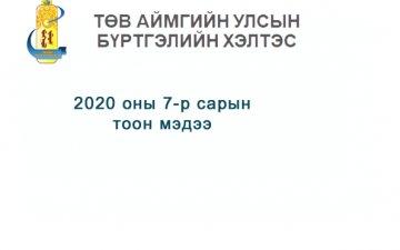2020 оны 7-р сарын  тоон мэдээ.