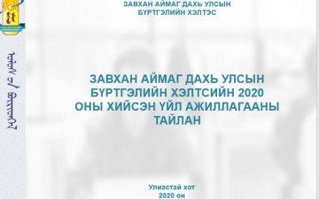 2020 ОНЫ ҮЙЛ АЖИЛЛАГААНЫ ТАЙЛАН