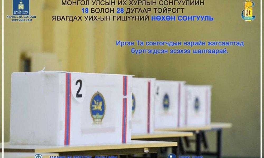 Монгол Улсын Их Хурлын гишүүний нөхөн сонгуулийн 18, 28 дугаар тойрогт иргэний шилжилт хөдөлгөөнийг түр зогсоох тухай