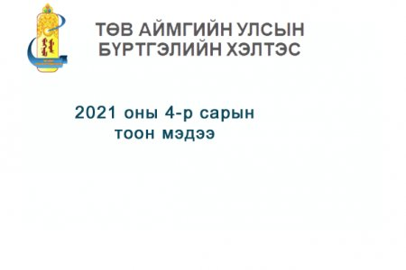 2021 оны 4-р сарын тоон мэдээ.