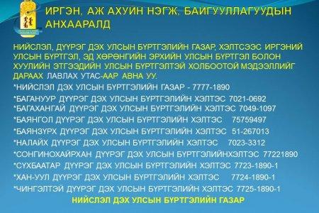 Дүүрэг дэх Улсын бүртгэлийн хэлтэс лавлах утас