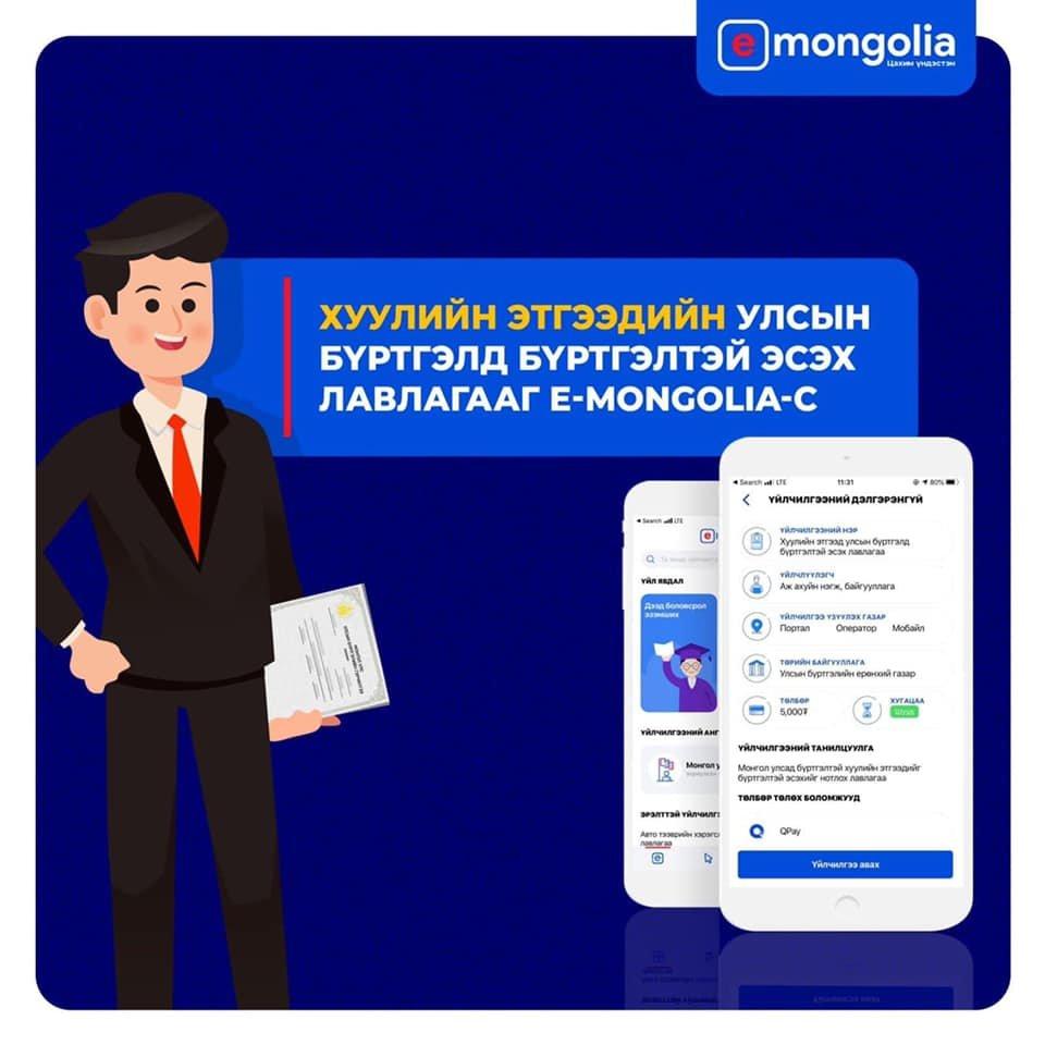 Хуулийн этгээдийн улсын бүртгэлийн талаарх лавлагаа Burtgel.mn болон e mongolia-с цахимаар авах боломжтой